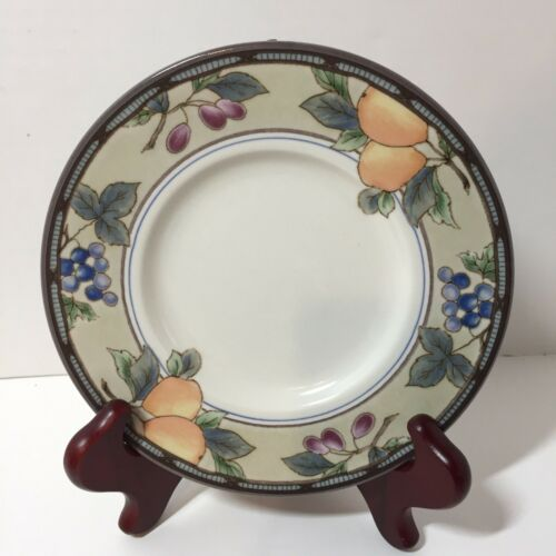 "Bread Plate Saucer Mikasa Intaglio Garden Harvest 6.5/""  Fruits Grapes Plums"