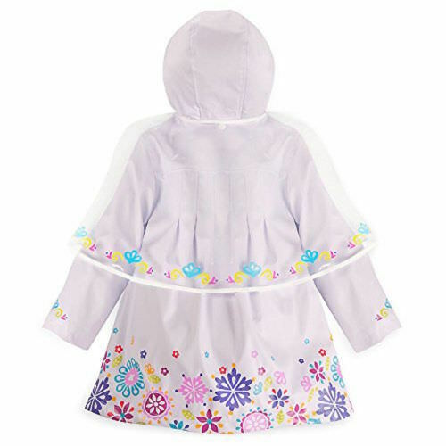 Disney Store Deluxe Frozen Anna Elsa Rain Jacket NEW White Hooded Coat size 3T