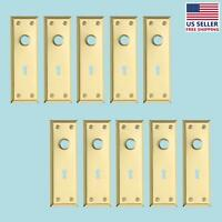 10 Door Back Plate Bright Solid Brass Stamped W/keyhole 7 3/4 | Renovator's Su on sale