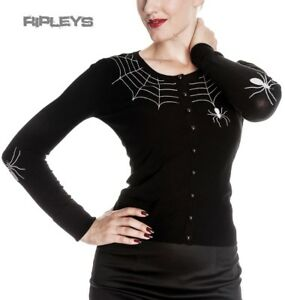 HELL-BUNNY-Ladies-SPIDER-WEB-Cardigan-Top-Black-Goth-Halloween-All-Sizes