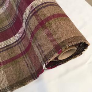 Heather-Maroon-CHECK-Balmoral-Wool-Effect-Tartan-Upholstery-Curtain-Fabric