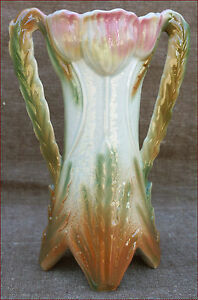 "French Majolica Tulip Vase Onnaing 1900 - France - French- antic Gallery on eBay French Majolica Tulip Vase Onnaing 1900 Tulip vase with relief in french majolica made by Onnaing during the 1900's. Perfect condition, no chips or cracks or repairs, it's numbered on the bottom. 9"" high 6 1/4"" width - France"