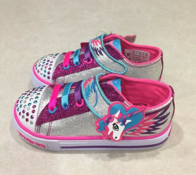 affc72e29e0d Skechers Twinkle Toes Shuffles Party FETs Lights 10772n slhp Silver Hot  Pink Tod 8