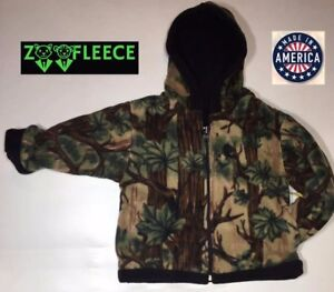 ZooFleece-Green-Tree-Camouflage-Kids-Boys-Jacket-Hoodie-Coat-Camo-Reversible
