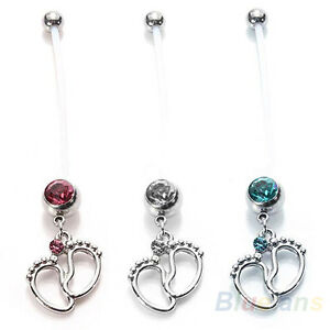 Pregnant-Use-Maternity-Tiny-Feet-Barbells-Belly-Ring-Crystal-New-Body-Navel-Ring