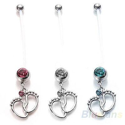 PTFE Soft Maternity Bendy Belly Ring Tiny Feet Crystal Pregnancy Bar Navel Ring