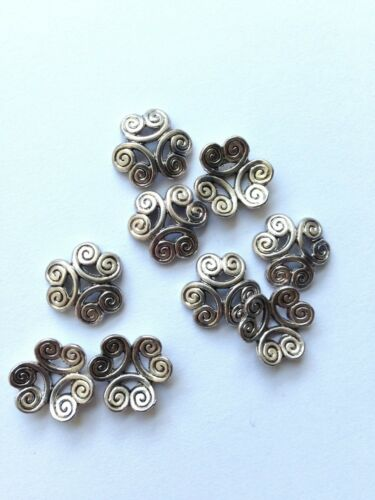 Jewellery Making Antiqued Silver 13mm Tibetan Style Flower Beadcaps x100