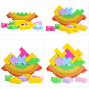 Baby-Toddler-Puzzle-Eden-Balance-Blocks-Multi-color-Kids-Learning-Wooden-Toy-BS