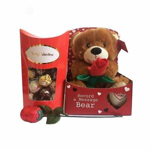 Valentines Gift Set Teddy Bear Chocolate Rose Ferrero Rocher