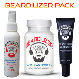 Beardilizer-Ultimate-Growth-Pack-Dietary-Supplement-Spray-Tonifying-Gel