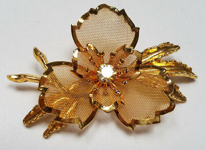 Pins, Brooches Other Fashion Jewelry Vintage Gold Tone & Rhinestone Leaf Flower Brooch Pin 3'' Gold Mesh Us Seller