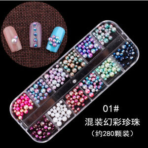 3D-Acrylic-Nail-Art-Rhinestones-Glitters-Beads-Sequins-Manicure-Decoration-Tips
