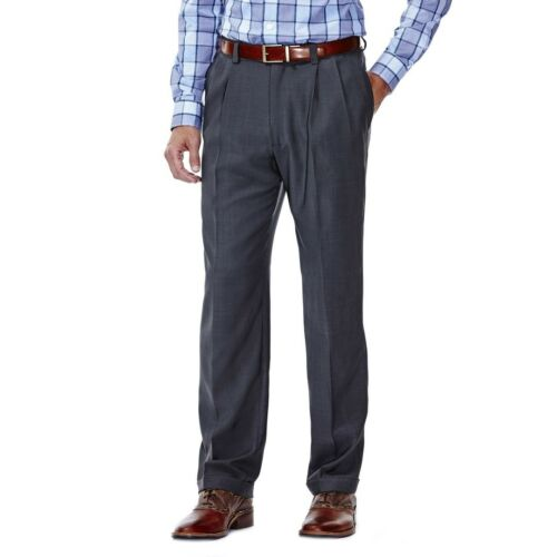 Haggar HD00219 Mens E-CLO Repreve Stria Pleated Front Classic Fit Dress Pants