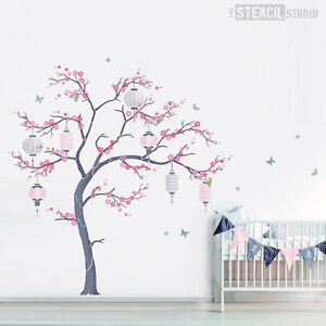 Cherry Blossom Tree stencil pack with lanterns Japanese wall mural