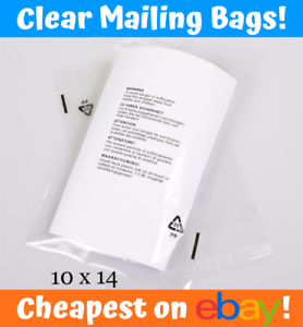 """Details about  /CLEAR MAILING WARNING BAGS 10/"""" x 14/"""" CPP Poly Cheap Mail Garments UK AMAZON FBA"""