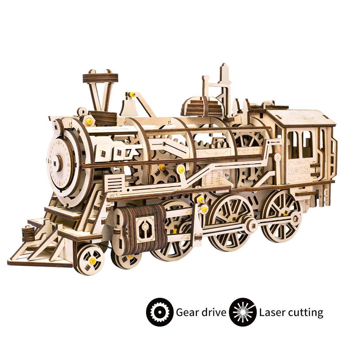 Robotime 3d - versammlung von puzzle - laser geschnitten lokomotive kit mechanische getriebe.