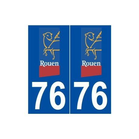 76 Rouen logo autocollant plaque stickers ville -  Angles : arrondis