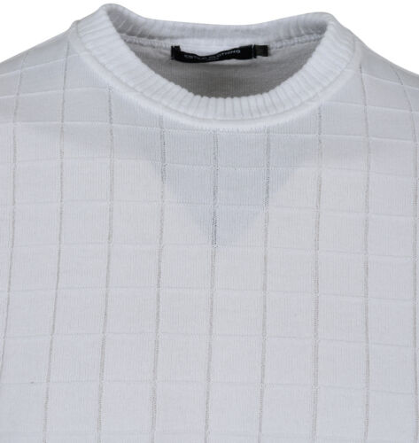 ESTILO MENS DESIGNER JUMPER CHECK PURE NEW 12GG KNITTED TOP CLASSIC WHITE SS16