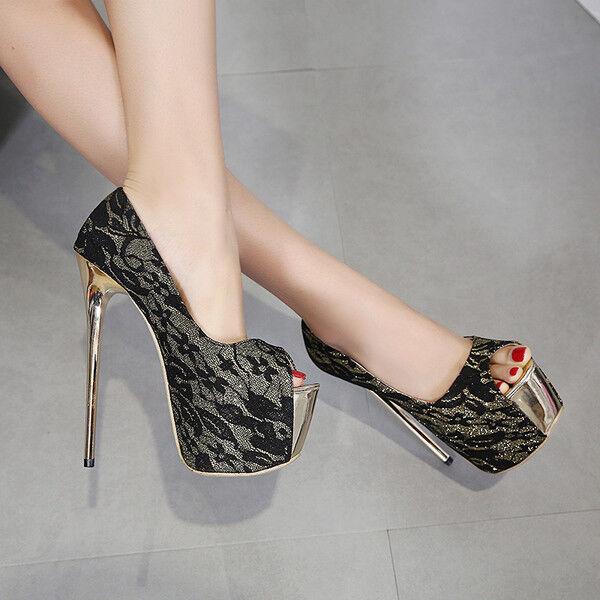 Decolte scarpe  15  cm stiletto stiletto stiletto nero silver pizzo simil pelle comode 9631 500aae