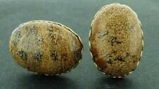 AWESOME Picture Jasper Oval Cufflinks 25x18 MM Scalloped Edges