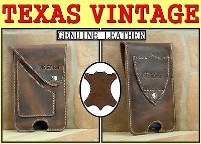 TEXAS GENUINE LEATHER VINTAGE STYLE VERTICAL HOLSTER CASE BELT CLIP POUCH CASE