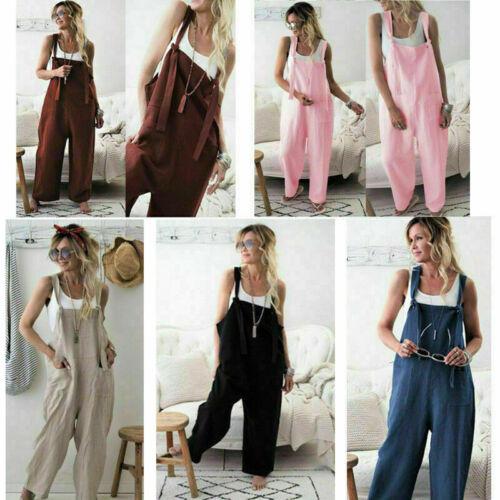 Fashion Women/'s Loose Linen Bid Long Pant Cotton Jumpsuit Strap Trousers