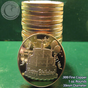 "20 /""Battle of Antietam/"" 1oz .999 Copper Rounds in a plastic tube Civil War Serie"