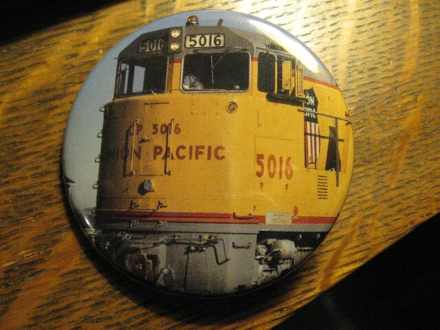 Union Pacific Railroad Yellow Train Engine Locomotive Pocket Lipstick Mirror