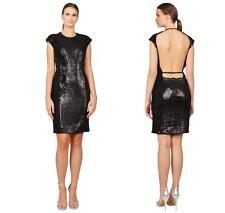 $1995 NWT Kaufmanfranco Onyx Black Cap Sleeve Sequin Open Back Dress 8
