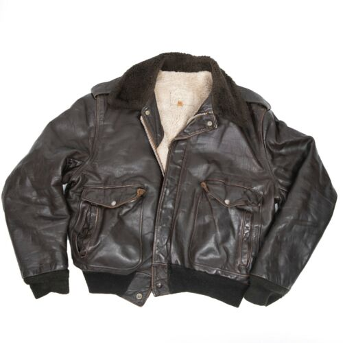 Vintage Leather Flight Bomber Jacket R.Sherman Lea