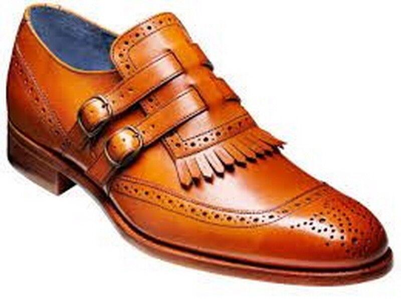Handmade männer Latest Brogue Style Double Strap Leather Formal schuhe, männer kleiding