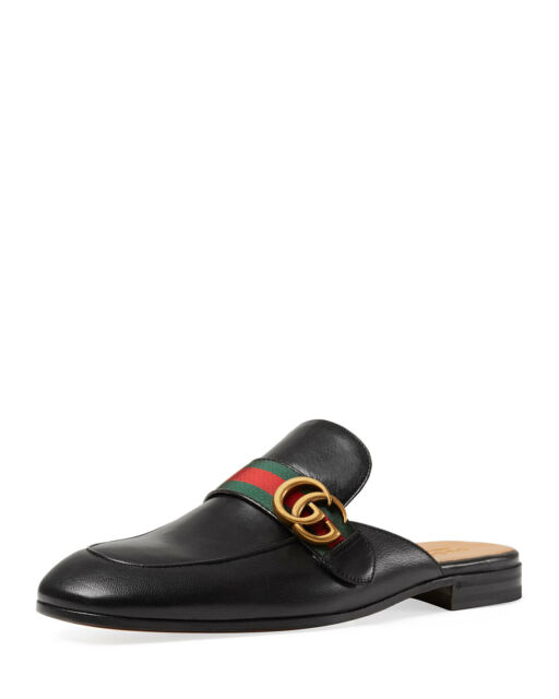 100% AUTH NEW MEN GUCCI KINGS PRINCETOWN LEATHER MULE SLIPPERS UK 10/US 11 D