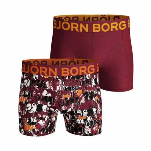 Bjorn Borg 2-Pack Side Stretch Floral Print Men/'s Boxer Trunks Burgundy