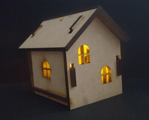 Small House MDF craft shape model christmas tree decoration