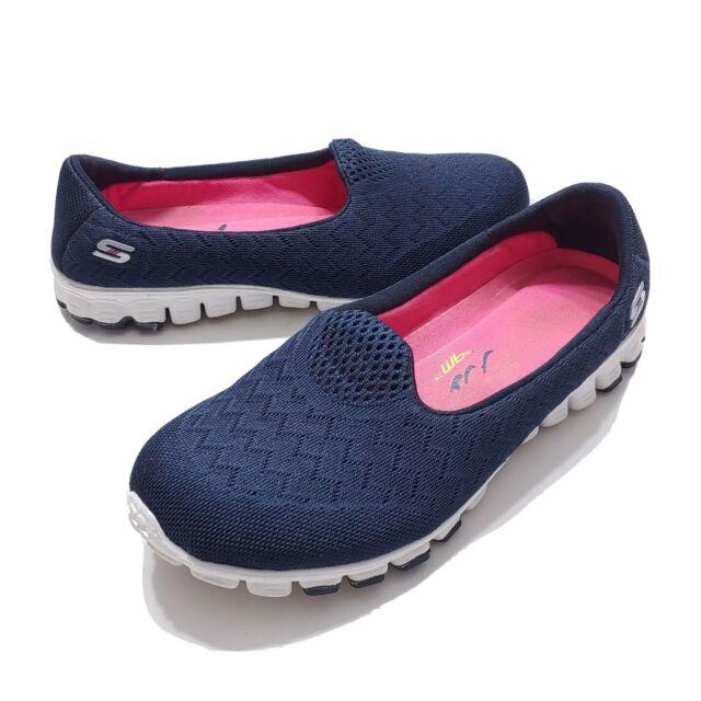 Knit Memory Foam Flat Shoes Navy Blue