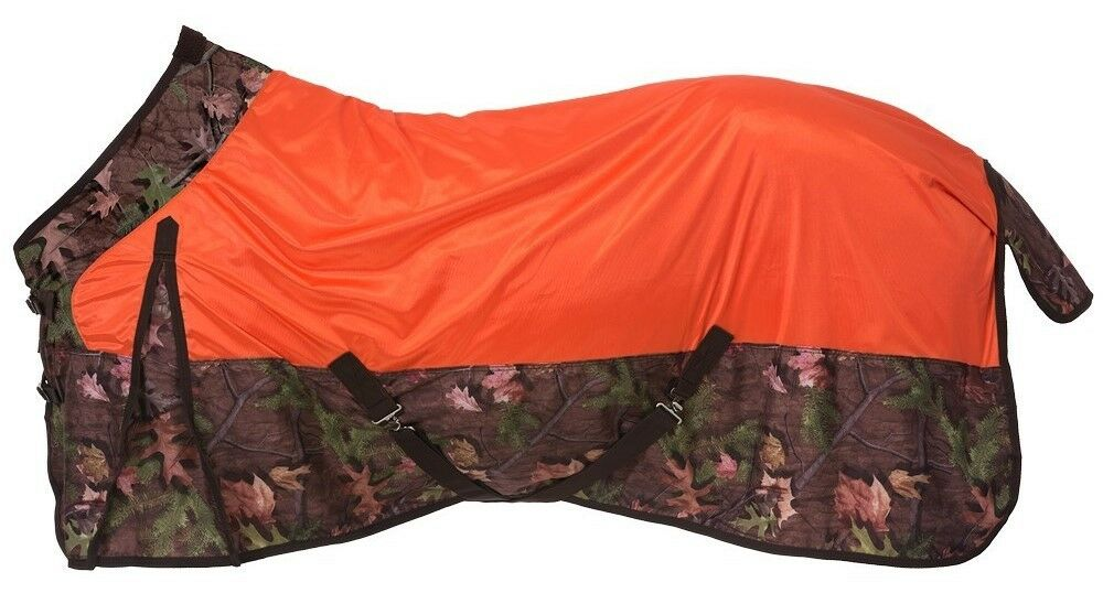 Horse Fly Mesh Fly Horse Sheet - Orange and Camo Timber Print - Größes 72