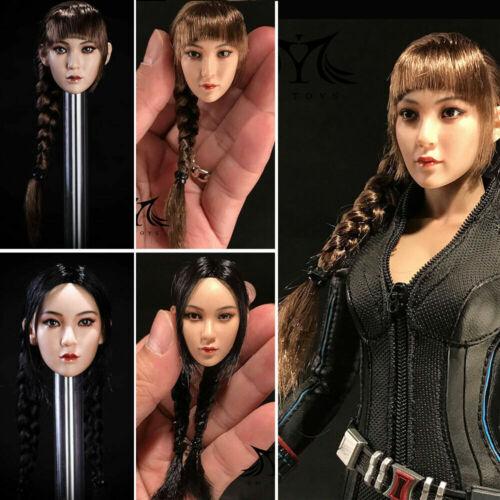 "Hot Toys 1//6 Asian Female Head Sculpt Double Braided Hair For 12/"" PHICEN Figure"