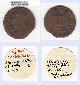 stampsdealer-Cu-3-Pfennig-1674-Wiedenbrueck-Kennepohl-560-ex-Slg-Horn-Zainende