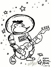 Space Ape Band: Bass Player. Original Signed Cartoon Art by Walter Moore