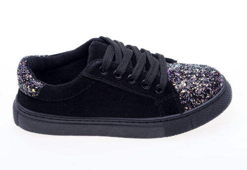 Girls glitter canvas velour trainers shoes