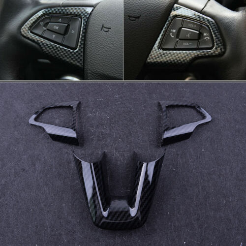 Carbon Fiber Look Steering Wheel Trim Cover Fit For Ford Focus 2015-2018