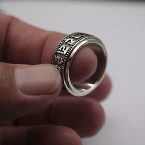 Fine-Pure-Sterling-925-Silver-Ring-Man-039-s-Rotatable-Six-Word-Maxim-Lucky-Ring