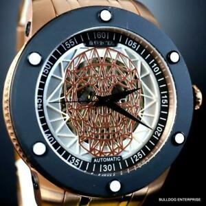 Invicta Speedway Skull Sketonized Rose Gold Tone Steel Automatic 51mm New