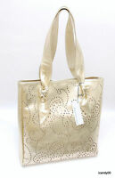 Roberta Gandolfi Italy Perforated Leather Shopper Tote Bag Handbags Gold
