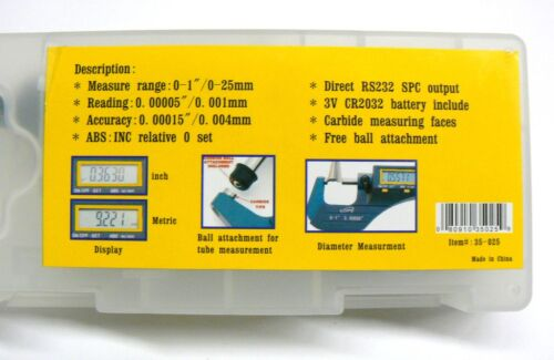 """iGAGING MICROMETER DIGITAL ELECTRONIC OUTSIDE 0-1/"""" /& METRIC X-LARGE LCD CARBIDE"""