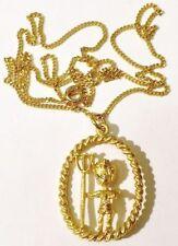 pendentif chaine rétro bijou vintage couleur or diablotin cristal diamant * 4954