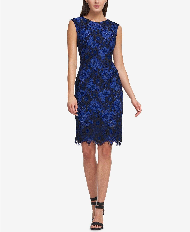 DKNY damen Blau Lace Sleeveless Sheath Dress Floral Crew Neck Sz 6 NWT