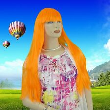 Long Straight Pumpkin Orange Wig With Bangs JDSW42