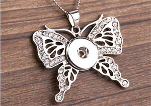 Diamond-Butterfly-Pendant-for-Fit-Noosa-Necklace-Snap-Chunk-Button-OA064