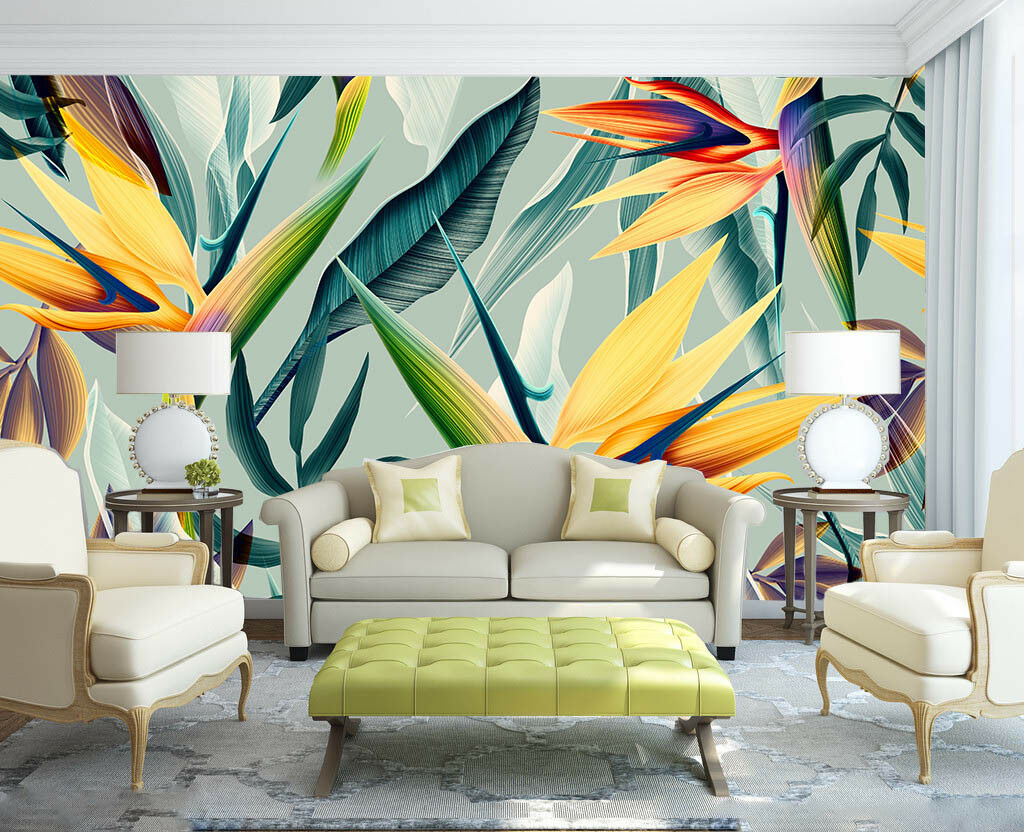3D Leaves Style 764 Wall Paper Murals Wall Print Wall Wallpaper Mural AU Lemon